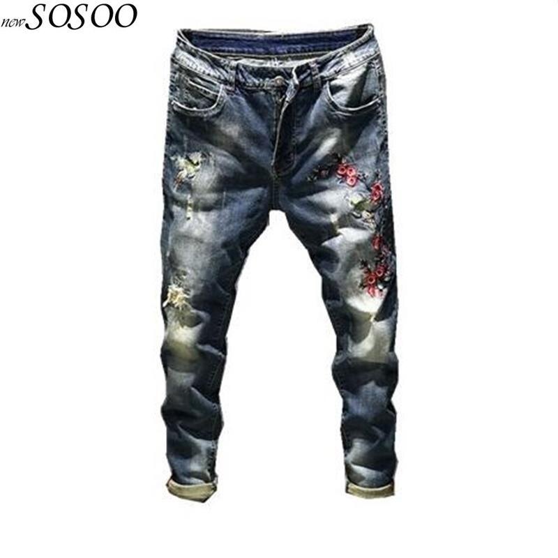 2018 новый бренд мужские джинсы с цветочной вышивкой корейский стиль мужской Повседневное модные эластичные узкие джинсы #818