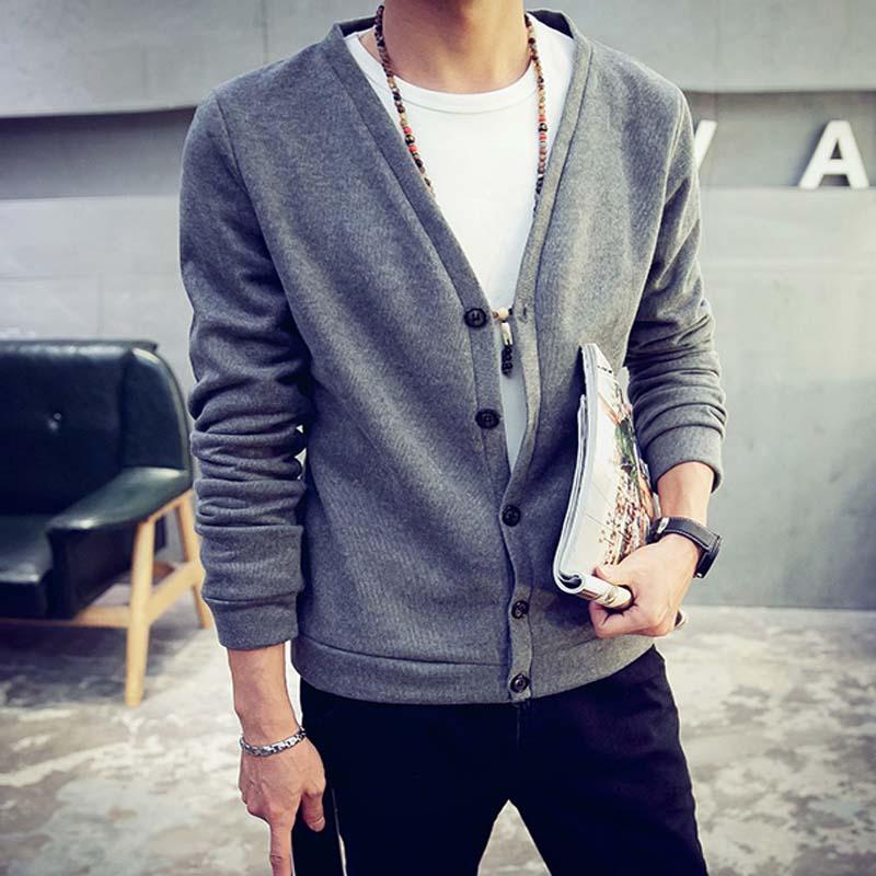 Large Size Solid Sweater Men 5XL 4XL Brand Clothing V Neck Cardigan Men 6Color Gray Black