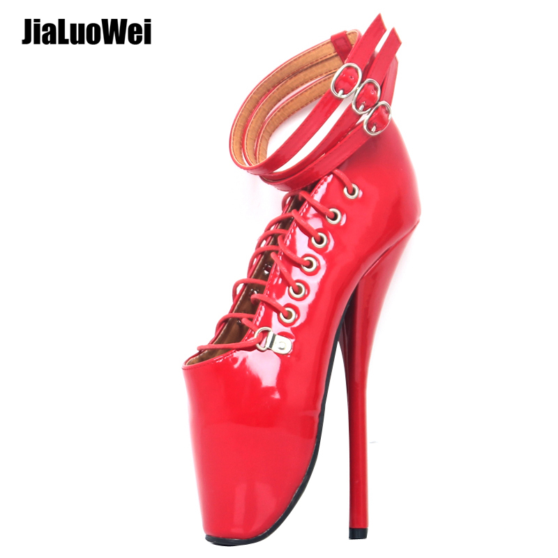 jialuowei Halloween costume 18cm/7 Spike High Heel Ballet Pumps cosplay shoes sexy Feitsh Thin heel ballet shoes Plus size
