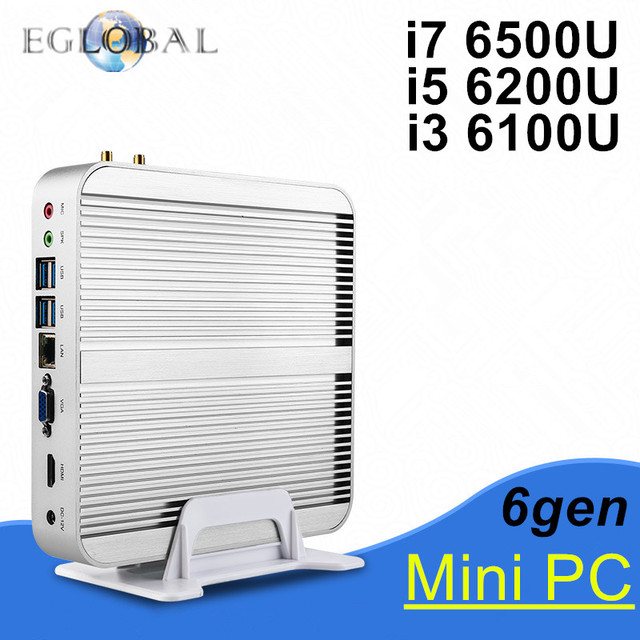 New 6th Generation Fanless Mini pc Core I3 6100U I5 6200U I7 6500U Barebone Windows 10 Mini PC Nettop 4K VGA HDMI HTPC 300M WiFi
