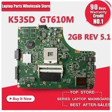 K53SD HEIßER!!! Für Asus K53SD motherboard REV 5,1 laptop motherboard mit grafikkarte GT610M 2 GB 100% getestet freeshipping