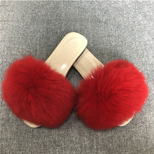 Real Fur Slippers Women Fox Home Fluffy Sliders Comfort With