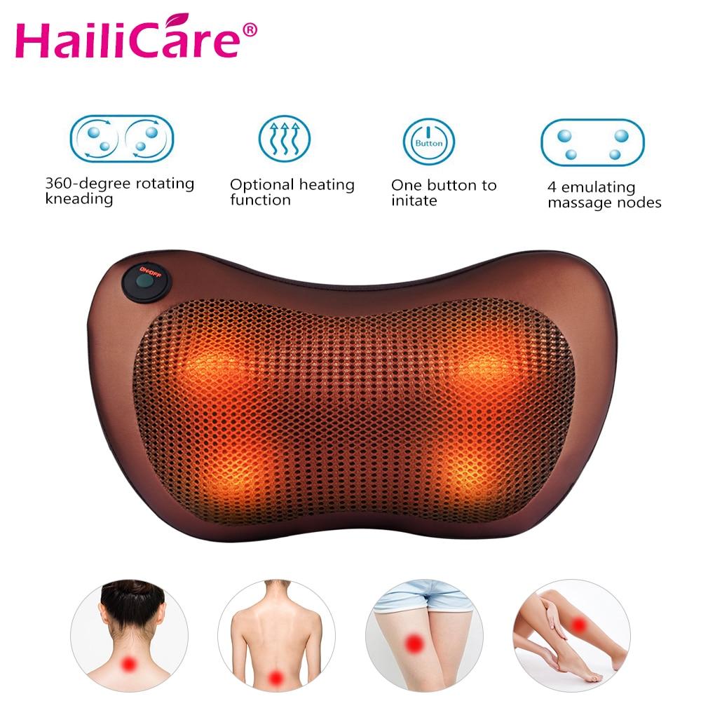 Electric Vibrating Kneading Neck Massager Pillow Infrared Heat Shiatsu Shoulder Back Massager Car Cervical Vertebra Therapy