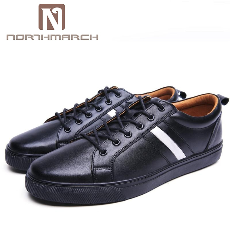 NORTHMARCH New Casual Shoes Mens Genuine Leather Lace-Up Shoes Simple Stylish Breathable Flats Male Shoes Moccasins Men stylish men s casual shoes with breathable and metal design