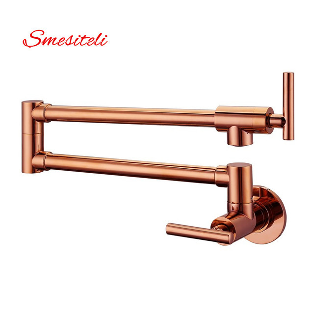 Smesiteli Hot Sale Modern Style Solid Brass Rose Gold Finish Wall Mounted Pot Filler Sink Tap Kitchen Faucet