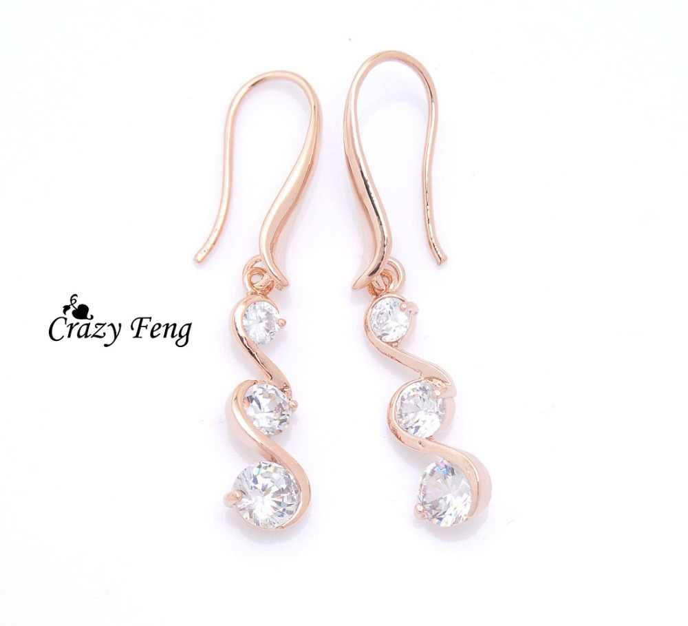 Free shipping New Crazy Feng  Gold-color Earrings CZ  Crystal Dangle Drop Earrings Jewelry gifts For Women