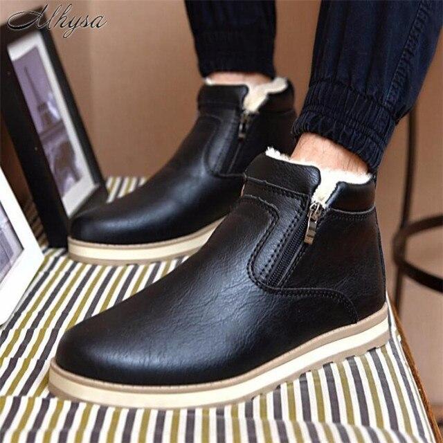 Mhysa 2018 Boyutu 39-44 Erkekler Kış Sıcak Çizmeler Rahat Ayakkabı Erkekler Moda Peluş Kar Botları Ayak Bileği Çizmeler Kürk deri Ayakkabı S837