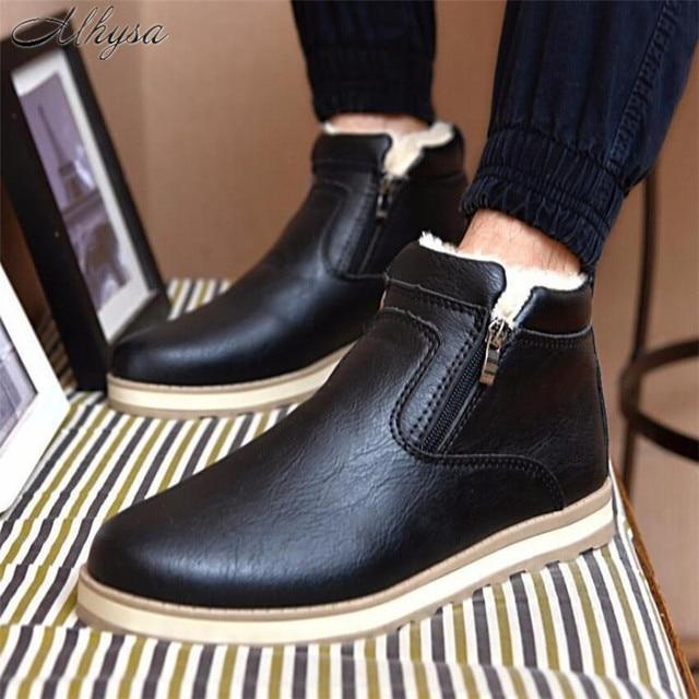 Mhysa 2018 Größe 39-44 Männer Winter Warme Stiefel Casual Schuhe Männer Mode Plüsch Schnee Stiefel Stiefeletten Fell leder Schuhe S837