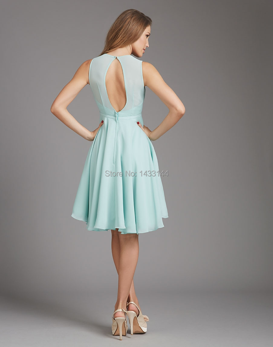 Lavender Bridesmaid Dresses Mint Green 2016 Short Chiffon Scoop ...