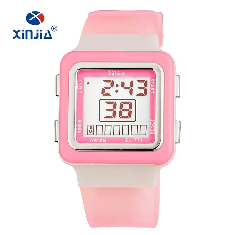 Hot XINJIA Fashion Women Sports Watches Waterproof 30m Ladies Jelly LED Digital Watch Swimming Diving Hand Clock Montre Children