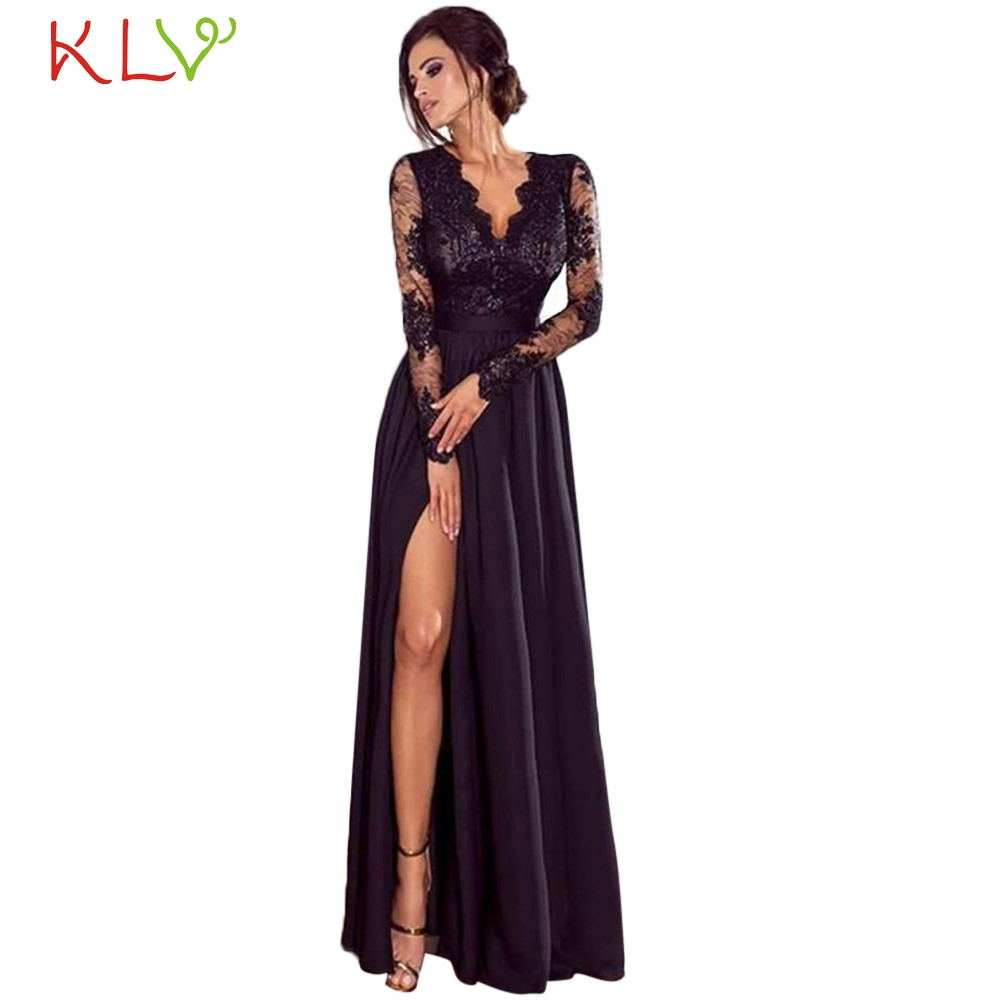Dress Women Evening Party Elegant Big Size Formal Lace Wedding Long Black  Dress For Night Summer 9fcec0449f64