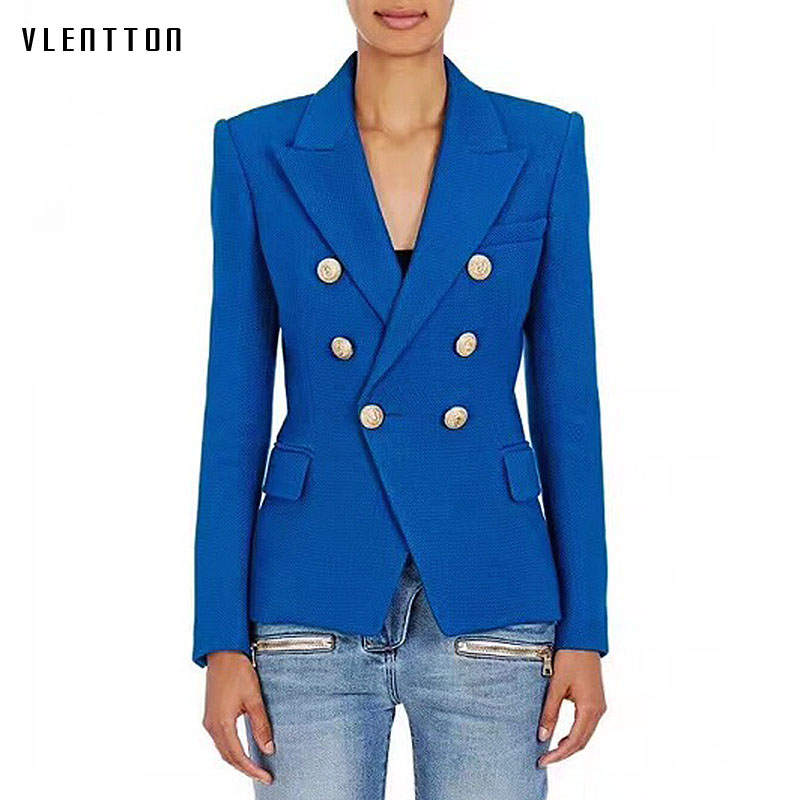 Newest 2018 Spring Blazer feminino Metal Lion Buttons Double Breasted Jacket Women