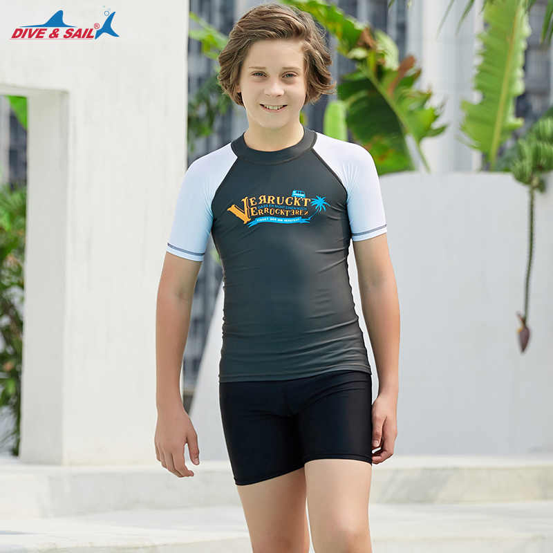 Sporotli Boys Toddlers Kids Basic Solid Short Sleeve Swim Sun Protective Rash Guard Rashguard Tee Shirt Top