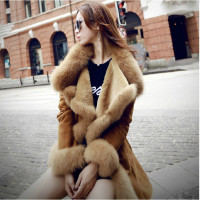 Women Faux Fur Coat Artificial sheepskin Stitching Big Turn down Fox Collar Long Jacket Mink Fur Trench Coats Cashmere Outwear