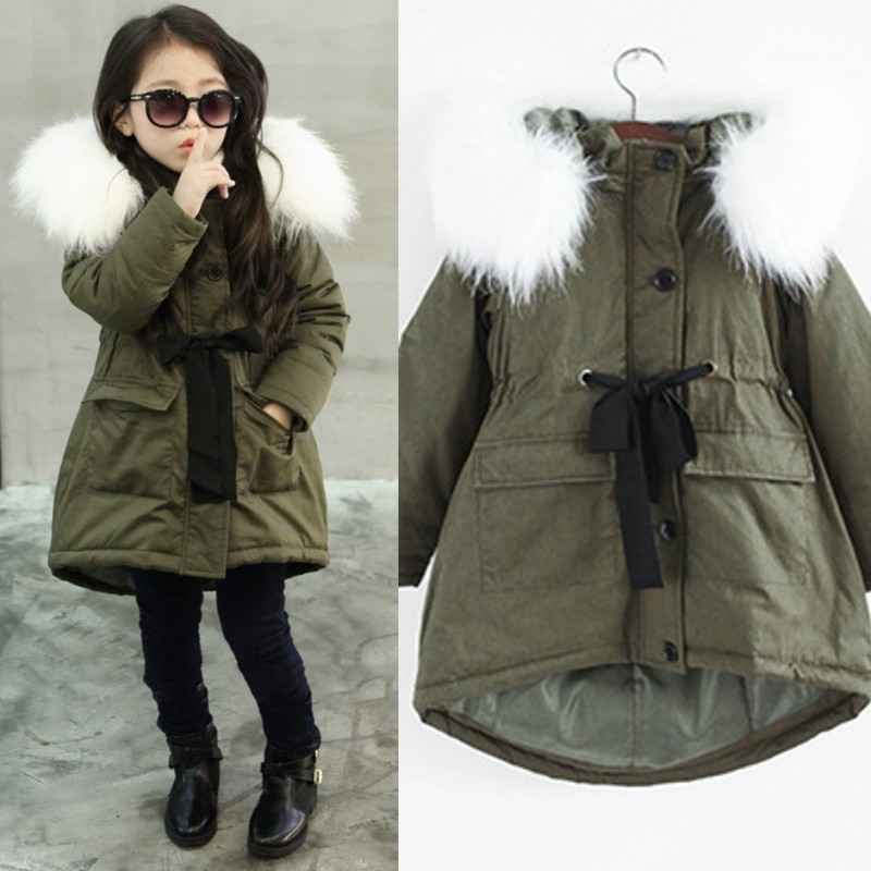 c804f741e Detail Feedback Questions about New Girls Winter Coat army Green Color  Thickness White Fur Collar Winter Jacket Doudoune Fille Girls Coat 6WJT015  on ...