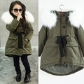 New Girls Winter Coat army Green Color Thickness White Fur Collar  Winter Jacket Doudoune Fille  Girls Coat  6WJT015