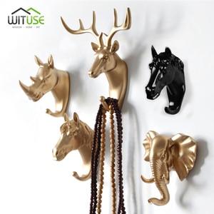 Image 2 - 8 kształtów Vintage/nowoczesne poroże hak do zawieszania na ścianie ubrania kapelusz szalik klucz Deer rogi wieszak stojak dekoracja ścienna białe złoto czarny