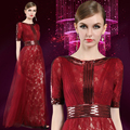 Celebrity Dresses 2017 Wine Red Embroidery Prom at BAFTA Awards Carpet Host Half Sleeve Gown High Neck Party Dress