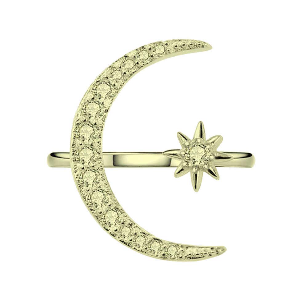แฟชั่น Rhinestones ฝัง Crescent Star Shape เปิดแหวนนิ้วมือ