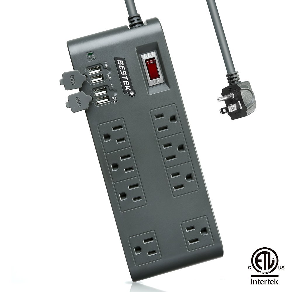 Bestek Power Strip Surge Protector 8 Sockets 7 5a 4 Port