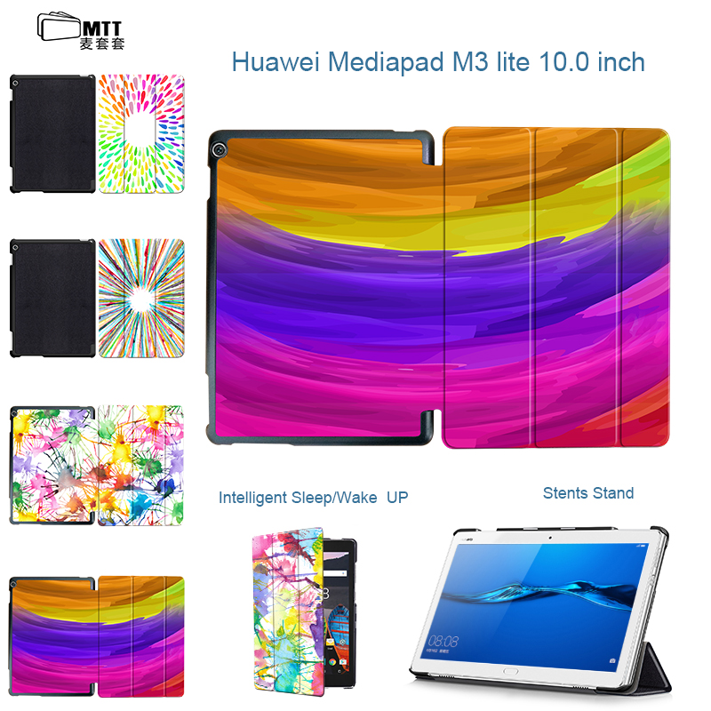 MTT Print Aquarelle Case for 10.1'' Huawei MediaPad M3 Lite 10 Stand protective cover skin case for BAH-W09 BAH-AL00 10 tablet smart ultra stand cover case for 2017 huawei mediapad m3 lite 10 tablet for bah w09 bah al00 10 tablet free gift