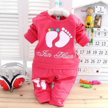 Newest spring baby boys girls clothes sets,cotton material thin clothes lovely children long sleeve T-shirt.