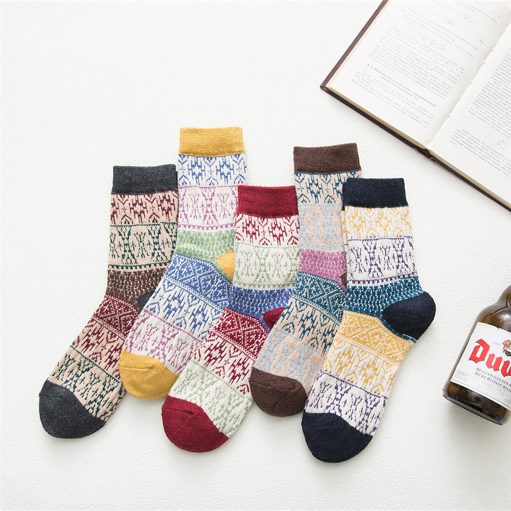 New product release winter women 39 s thick warm warm colorful plaid fresh Cotton Harajuku fashion wool socks 5 pairs in Socks from Underwear amp Sleepwears