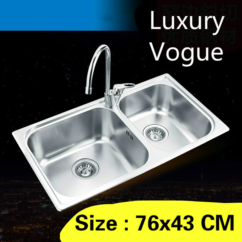 Free shipping Standard luxurious kitchen double groove sink food grade 304 stainless steel whole drawing hot sell 76×43 CM