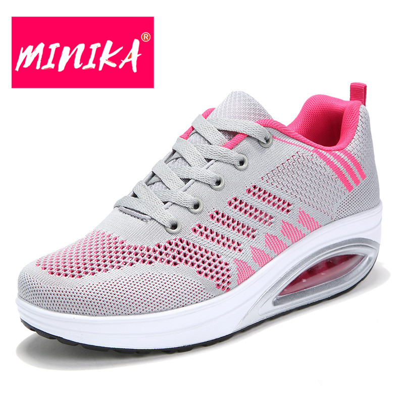 MINIKA Large Size 35-42 Mesh Breathable Women Casual Shoes Summer New Arrival Round Toe Lace-up Women Shoes Casual Women Flats new summer zapato women breathable mesh zapatillas shoes for women network soft casual shoes wild flats casual