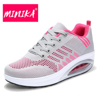 MINIKA Mesh Breathable Women Casual Shoes Summer New Arrival Round Toe Lace Up Women Shoes Casual