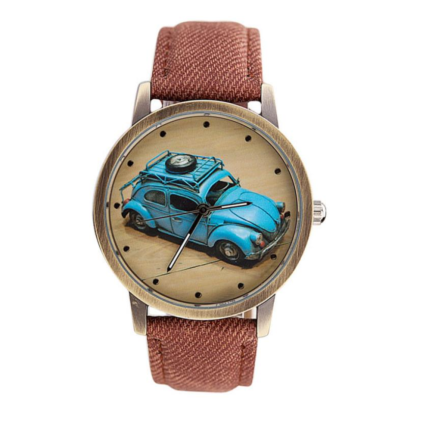Men Women's Dial Clock Leather Bracelet WristWatch Concise Fashion Men And Women Retro Car Pattern Denim Twill Strap Watches 50p