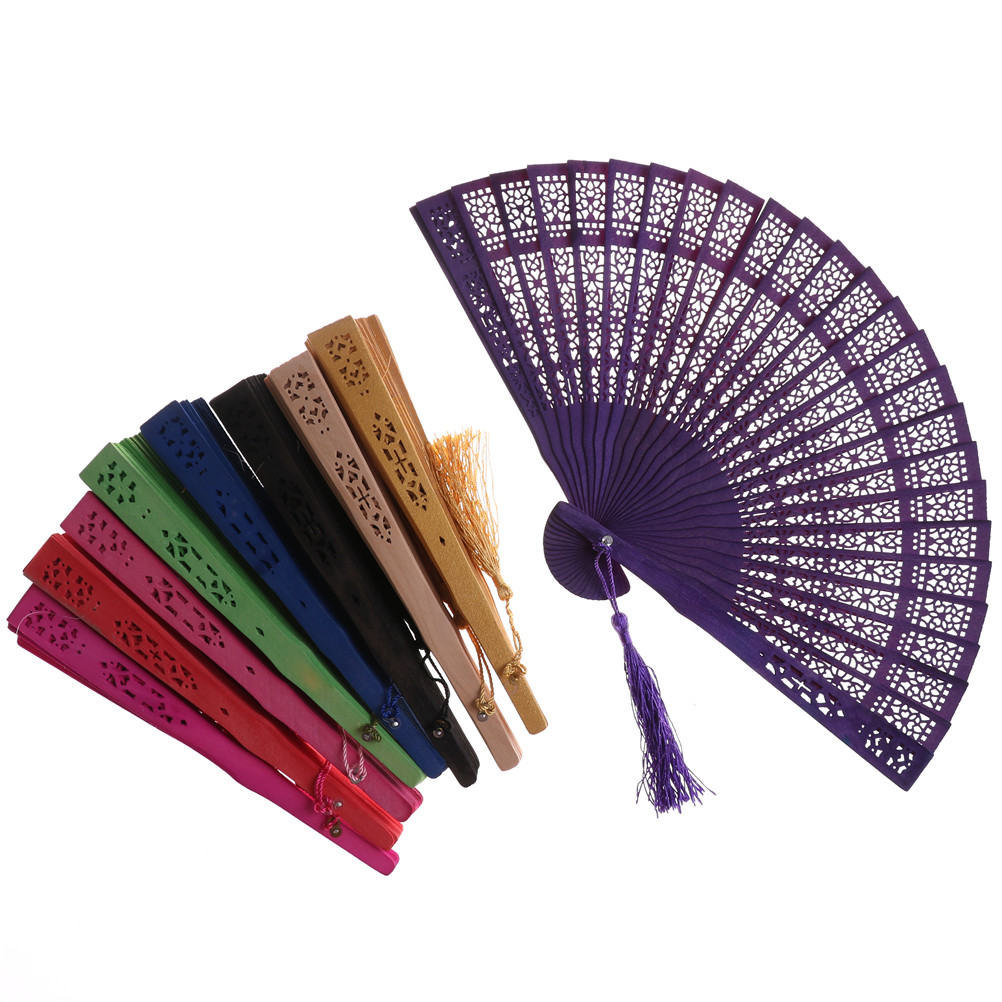 Wood Hollow Carved Foldable Pocket Hand Fan Women/'s Outdoor Handheld Accessories