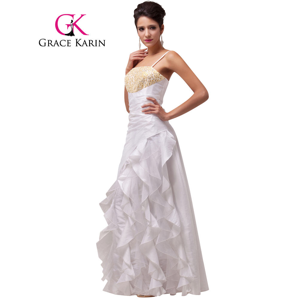 ̀ •́ Grace Karin Long Spaghetti Straps White Evening Dresses 2017 ...