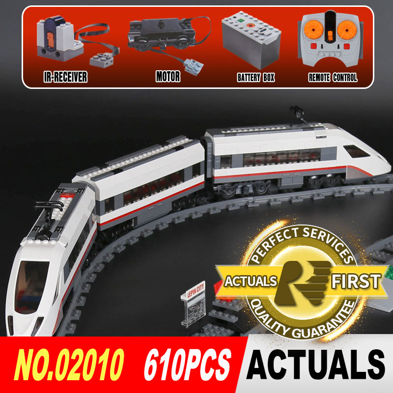 LEPIN 02010 610Pcs The City Series The High-speed Passenger Train Building Remote-control Trucks Set Blocks Bricks Toys 60051 lepin 02010 610pcs city series building blocks rc high speed passenger train education bricks toys for children christmas gifts