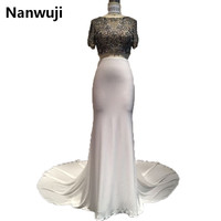2017 Real Photos High Collar Half Sleeve Two Piece Wedding Dresses Bridal Gown Vestidos De Noiva White and Black