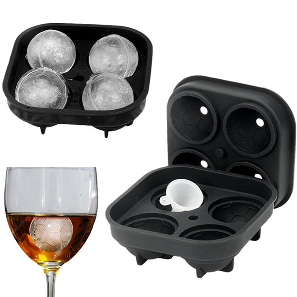 4 Cavities Ice Ball Mold Silicone Football Pattern Ice Maker Molds with Funnel E2S