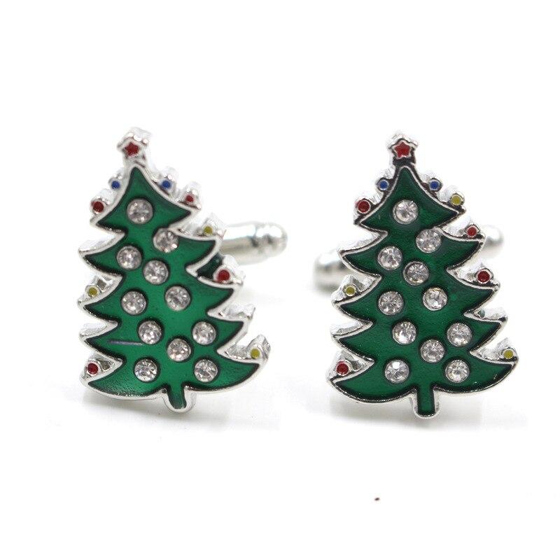 100% QualitäT Dongsheng Weihnachtsbaum Cuffkins Handgemachte Strass Emaille Cuffkins Grünen Baum Manschettenknopf Pins Frauen Männer Weihnachtsgeschenke-40 Taille Und Sehnen StäRken