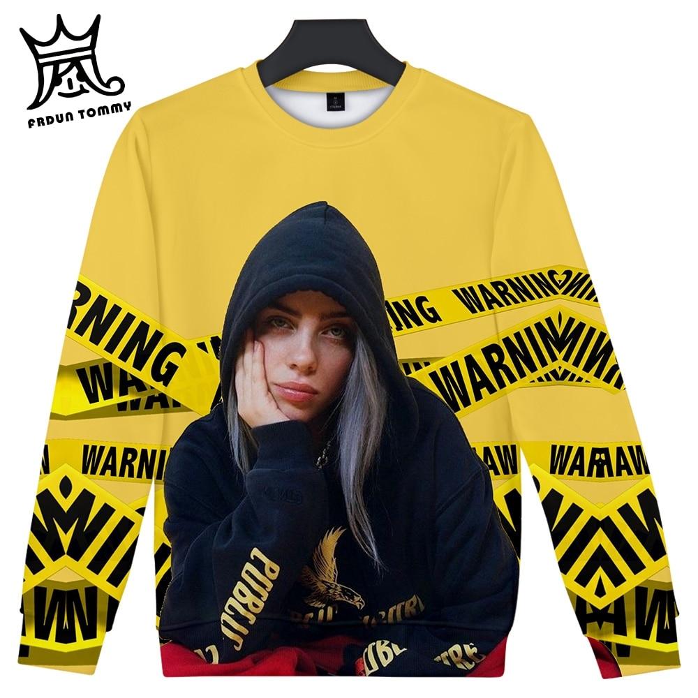 Frdun Tommy Billie Eilish Long Sleeve Shirt Album When We All Fall Asleep, Where Do We Go 3D Round Neck Sweatshirt Women Clothes