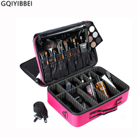 GQIYIBBEI Portable Makeup Organizer Storage Box 3 Layer With Adjustable Shoulder For Brush Set Nail Cosmetics Beauty Tool