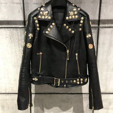European style womens rivets jackets coat 2019 spring real leather biker High quality sheepskin G152