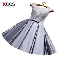 XCOS Homecoming Dress Cheap Red A Line Mini Appliques Cocktail Party Dress Above Knee Cheap Gray