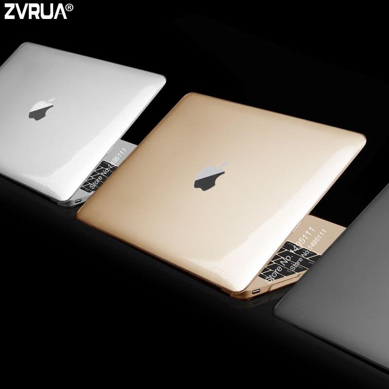 สำหรับ Apple macbook 12 นิ้วรุ่น A1534, ZVRUA อัลตร้าบางด้าน / คริสตัลแล็ปท็อปกรณี + ใสแป้นพิมพ์ปก