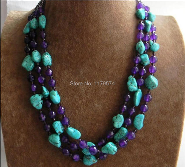 Hot New 3 Rows new free shipping to Turquoise & Faceted Purple Amethyst & Crystal Beads Necklace  W0359
