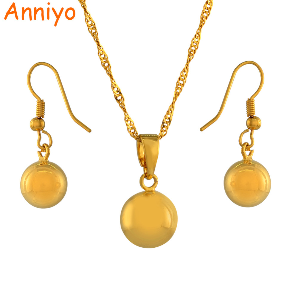 1eb41141c Anniyo Round Ball Pendant Necklace chain Earrings sets Jewelry Gold Color  Bead Necklaces sets for women #200006