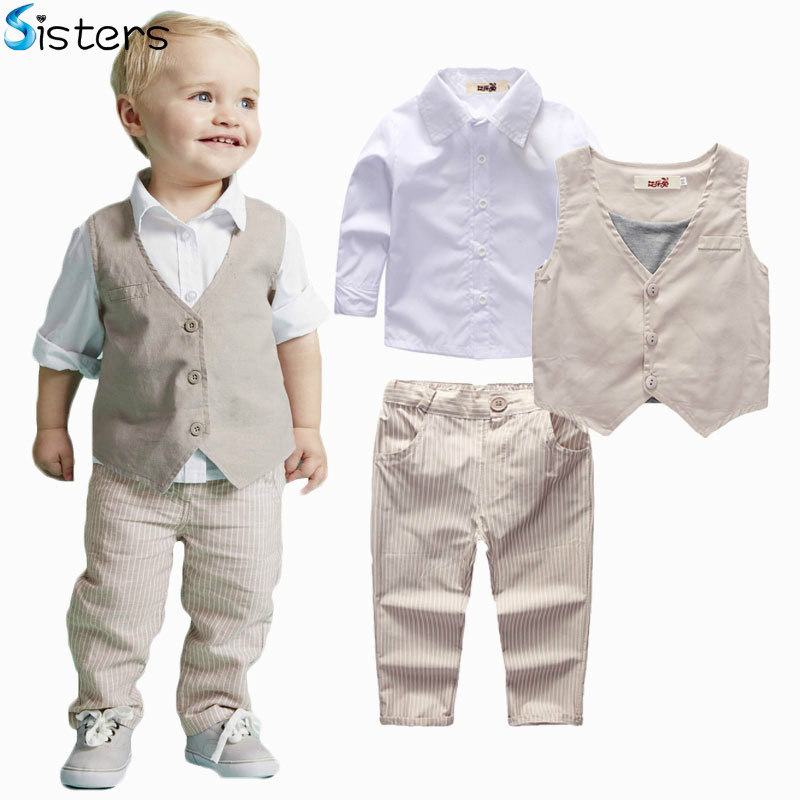 2017 Baby Boys Clothing Sets Autumn Spring Shirt + Vest + Pants Boy's Wedding Clothes Kids Gentleman Leisure Handsome Suit new 2017 spring boys letter embroidery denim clothing sets 3pcs boys t shirt clothes sets boys casual suit kids handsome suit