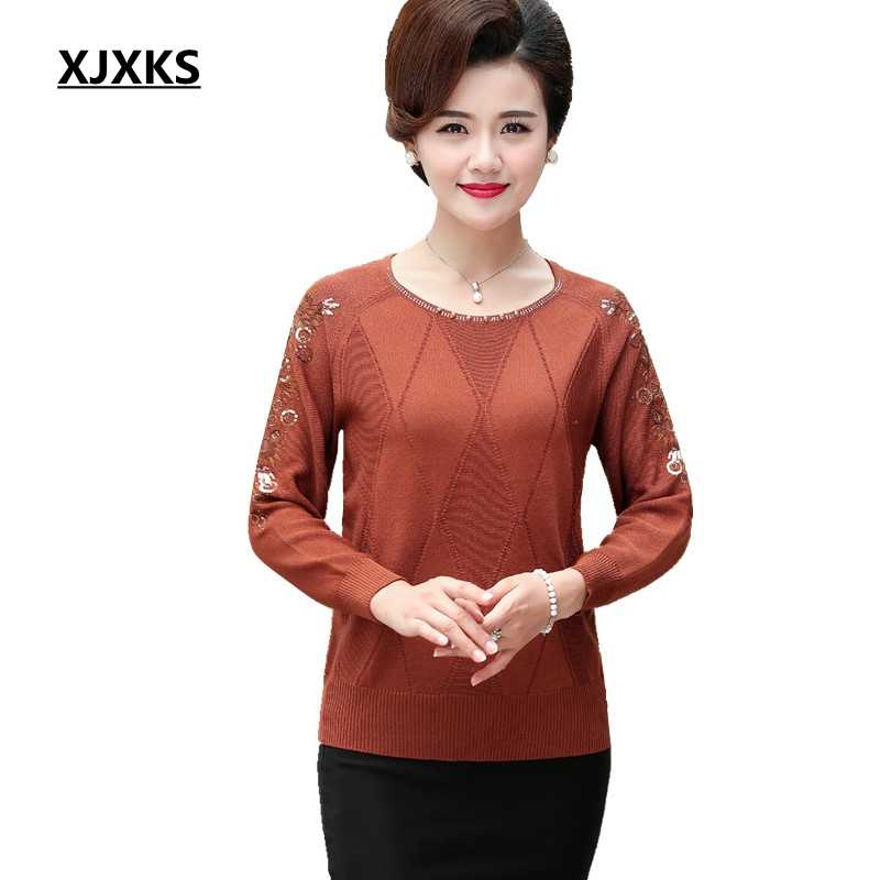 85f08f354e4f XJXKS Nice Hollow Out Sleeve Women Thin Sweater Plus size Hand Beading  Women Sweaters And Pullovers