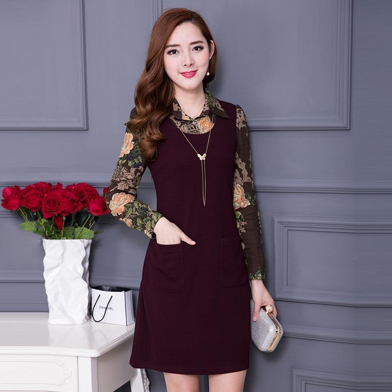 Gasa 5xl 2019 Otoño Black Tallas Vestidos Femme Vestido Negro Grandes Slim Mujer De Tamaño Teaegg Ete Red wine Plus Al41 Robe q84Sx1