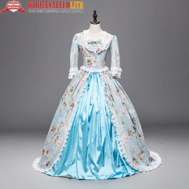 Renaissance Colonial Ball Gown Period Dress Floral Theater ...