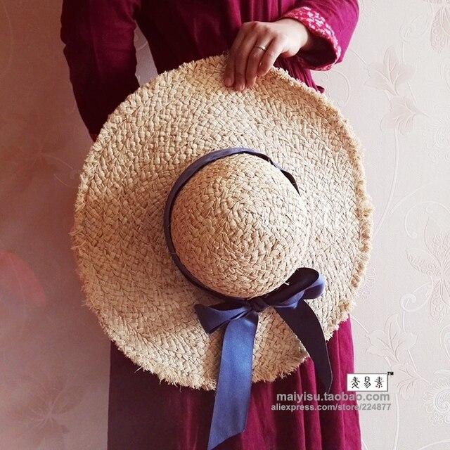 Bandeaus небольшой лук купол большой краев strawhat moben вс-затенение hat женщины пляж кап