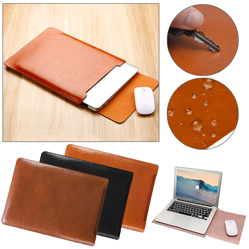 Laptop Sleeve Bag Leather <font><b>Case</b></font> Pouch for Macbook Air Pro Retina 11 13 <font><b>15</b></font> inch <font><b>Notebook</b></font> Carry Bag for Dell Lenovo ASUS <font><b>Xiaomi</b></font> HP image